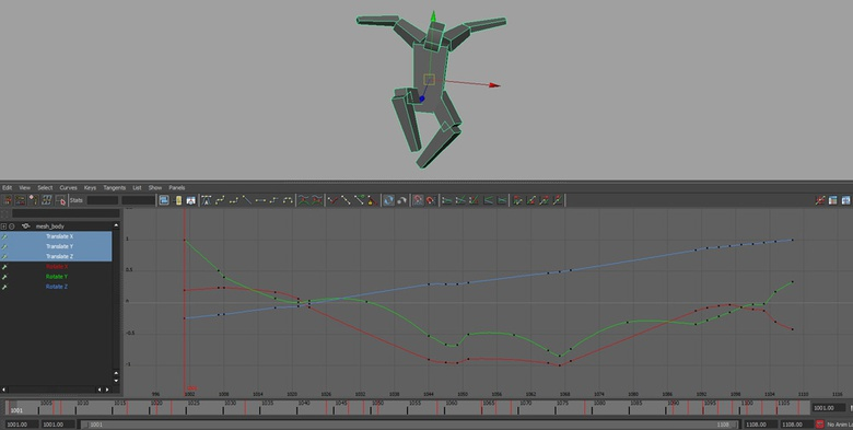 Animation curves of proxy character