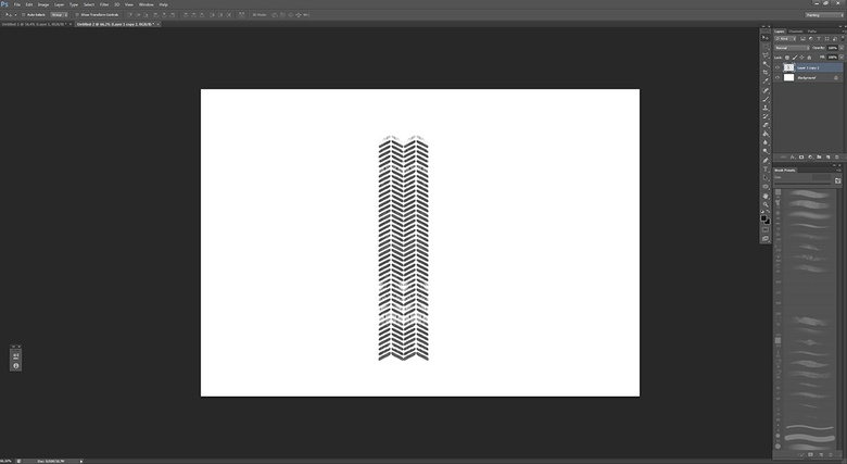Copying the brushstrokes again to get the tire track effect