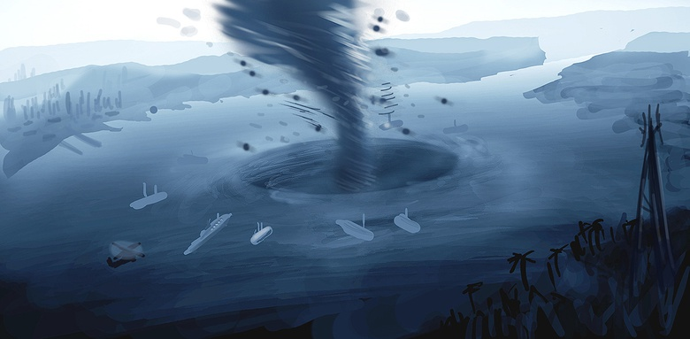 This was a fast five minute sketch to determine the tornado as a central object of the whole composition
