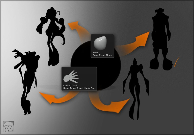Silhouettes are used to create form in the absence of detail and bring focus to the iteration process