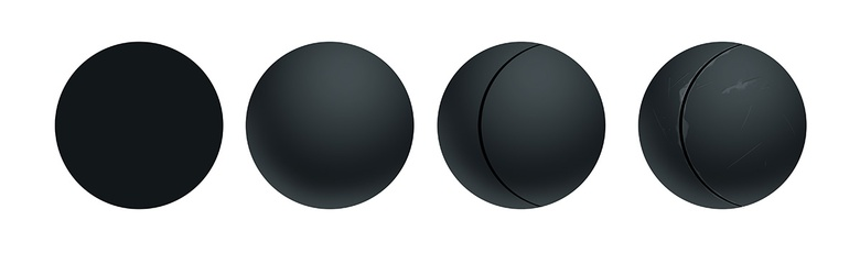 Spheres demonstrating basic lighting and adding scratches