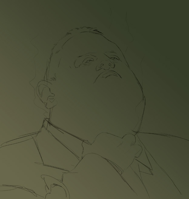 I drew my sketch on its own layer and set the layer mode to Multiply.
