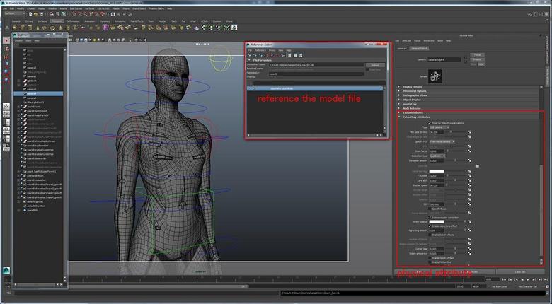 The model scene and setup a physical V-Ray camera