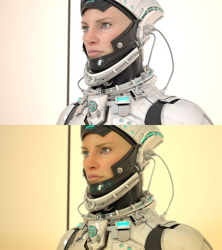 A beauty render with no composition above the final image with the addition of the composite elements blended in NUKE