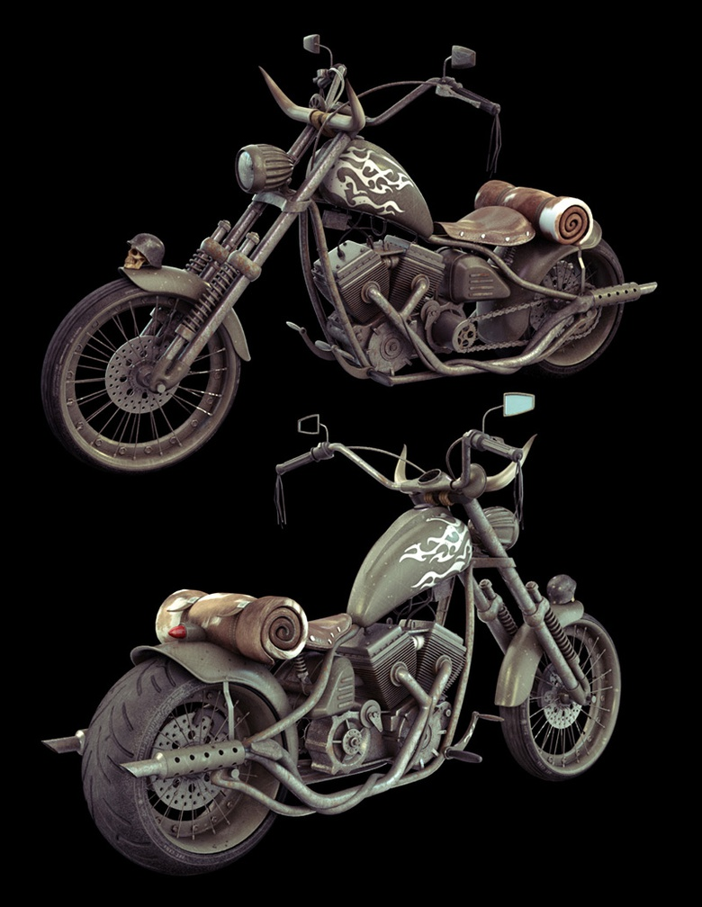 The motorbike textured and ready