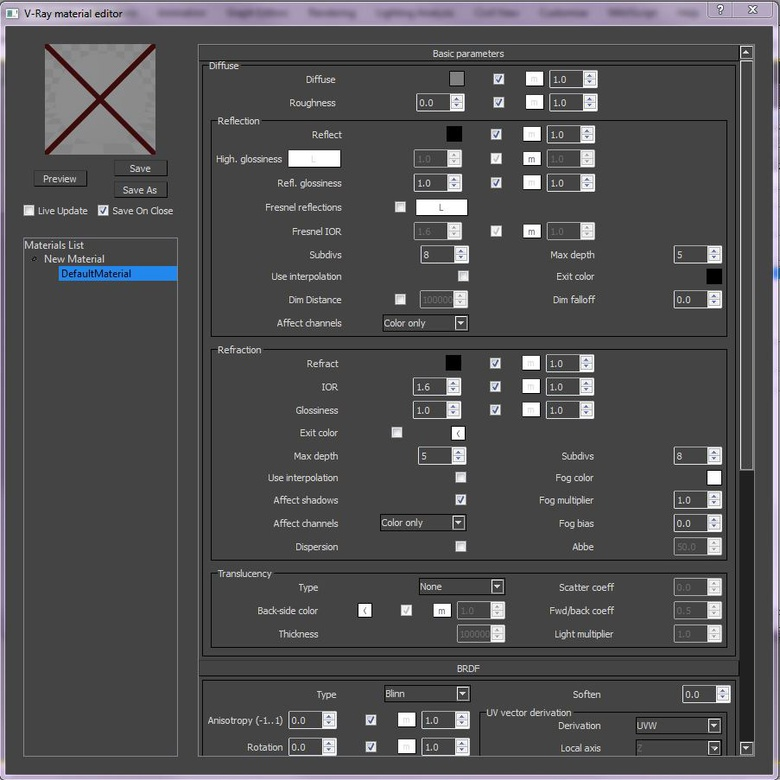 The interface will take a bit of getting used to but hopefully you'll recognize a lot of the parameters from the standard material editor