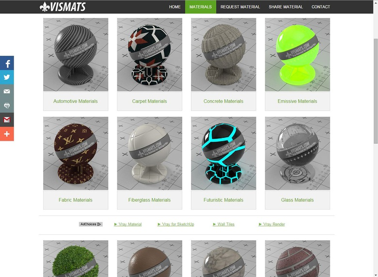 Googling 'Vismats' or 'VRMats' will give you plenty of sites that either sell or give away these types of materials for free