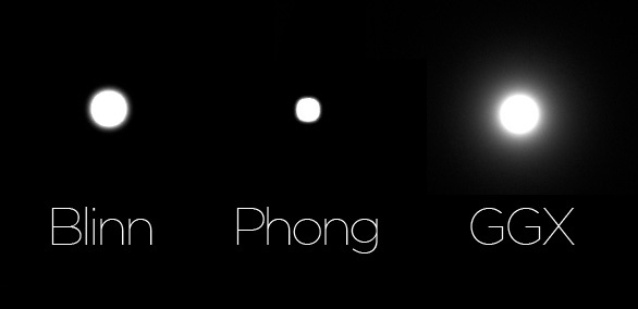 Here you can see the difference between the Blinn and Phong implementations and the new GGX implementation