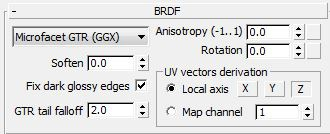 All of the BRDF settings are retained along with the addition of the 'GTR tail falloff' parameter