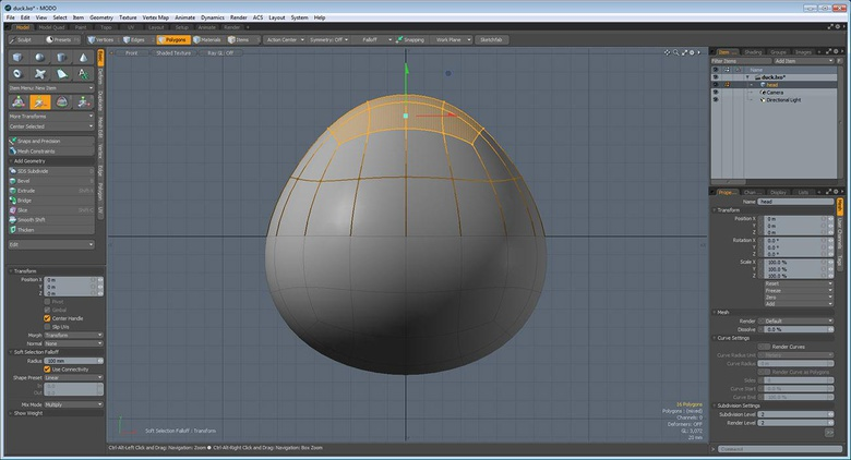 The Solid Sketch created head base mesh