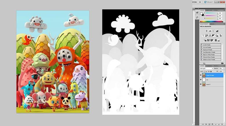 Final illustration adjustments in Photoshop