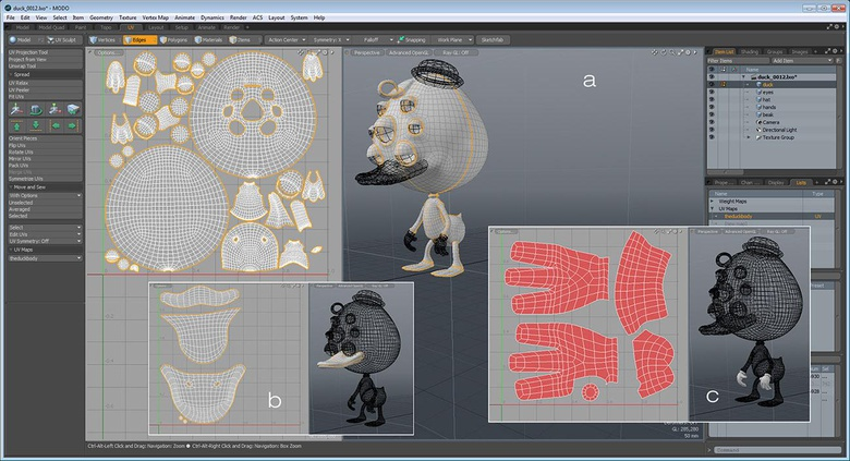 UV unwrapping and texture map export