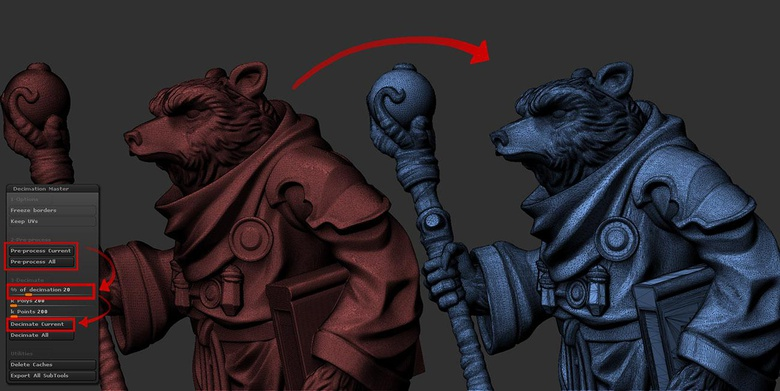 Decimation Master is a strong tool and can cause ZBrush to crash if it's very complex. Please save first!
