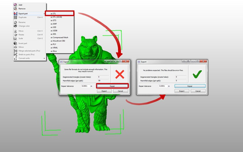 Netfabb keeps your STL sizing from ZBrush, exports it right back out as your desired size and fixes many troublesome issues at the same time. What a life saver!
