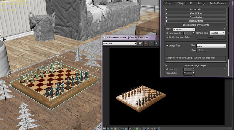 Here the chess board is selected so that is what is visible in the render. Select multiple objects if you like