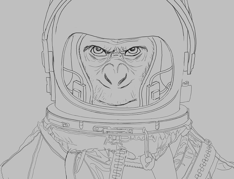 A close-up of the cleaned up line work