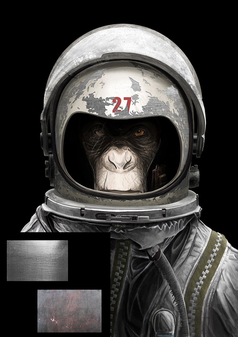 Using photos to create texture brushes to detail the helmet