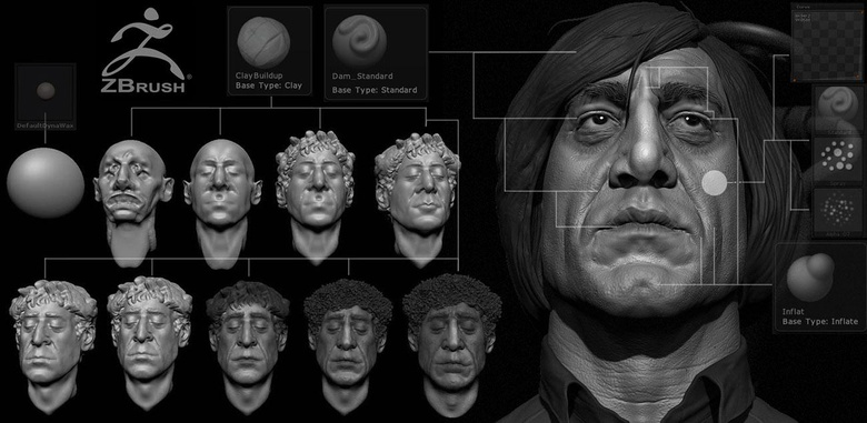Progress from a DynaMesh sphere to finalized portrait, with brushes used and their setup