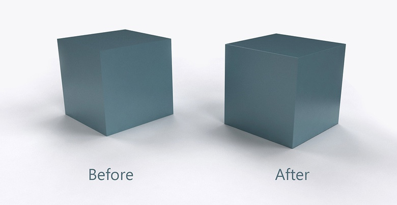 Before and after using Bevel Tool