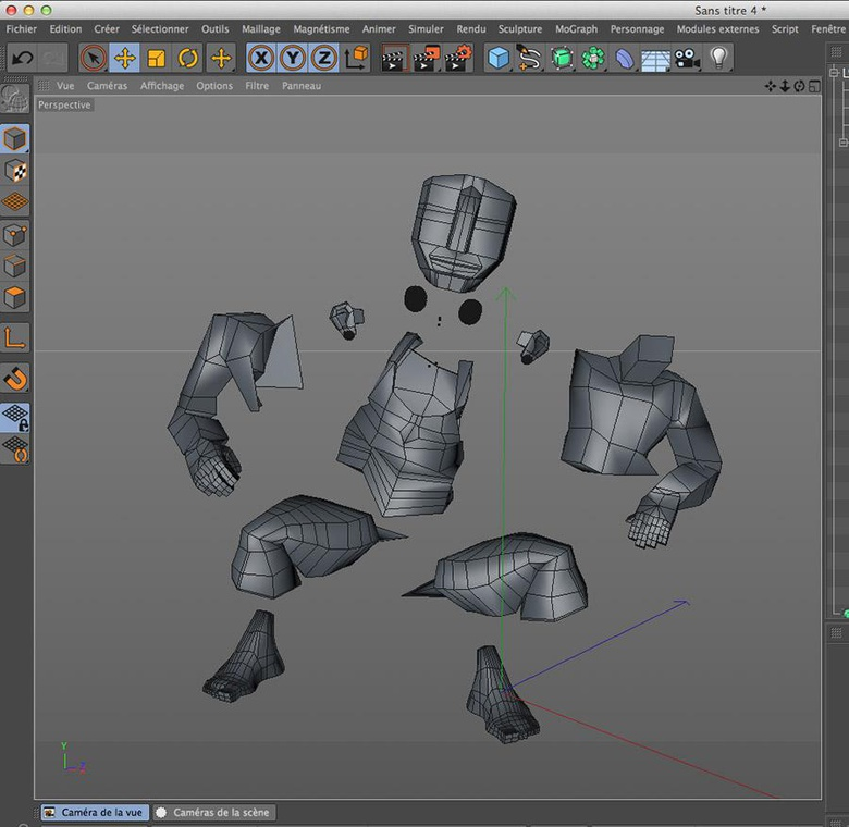 Each individual body part before using sculpting tools