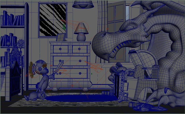 Wireframe of the scene