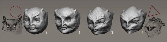 Progression of the Harpy head design