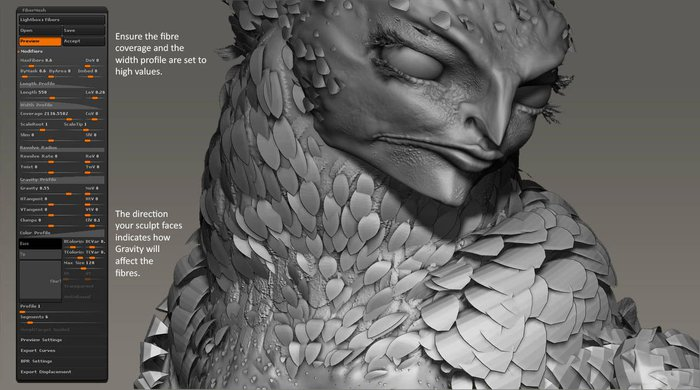 The initial FiberMesh settings used for applying feathers to the body