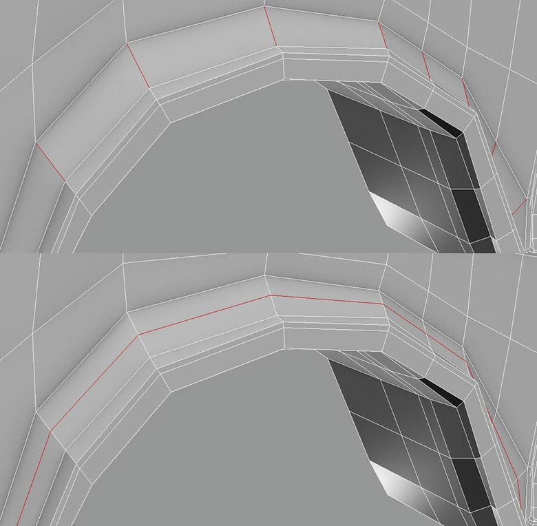 To obtain sharp and controlled edges efficiently it is necessary to keep the edges of polygons in an orderly manner; having continuous streams of faces simplifies selections to add or remove Edge Loops