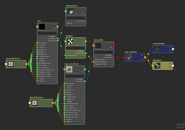 Node network of the tape shader (double sided geo)