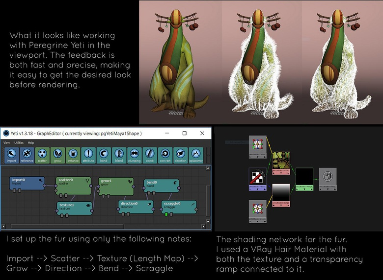 Here you can see how the fur was set up in Yeti's node editor as well as how it looks in the viewport
