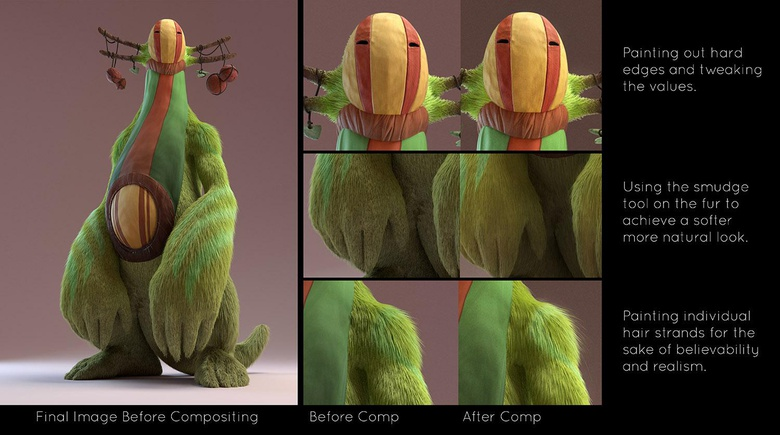 The final image with and without compositing - this clearly shows how important it is to work with your image in post