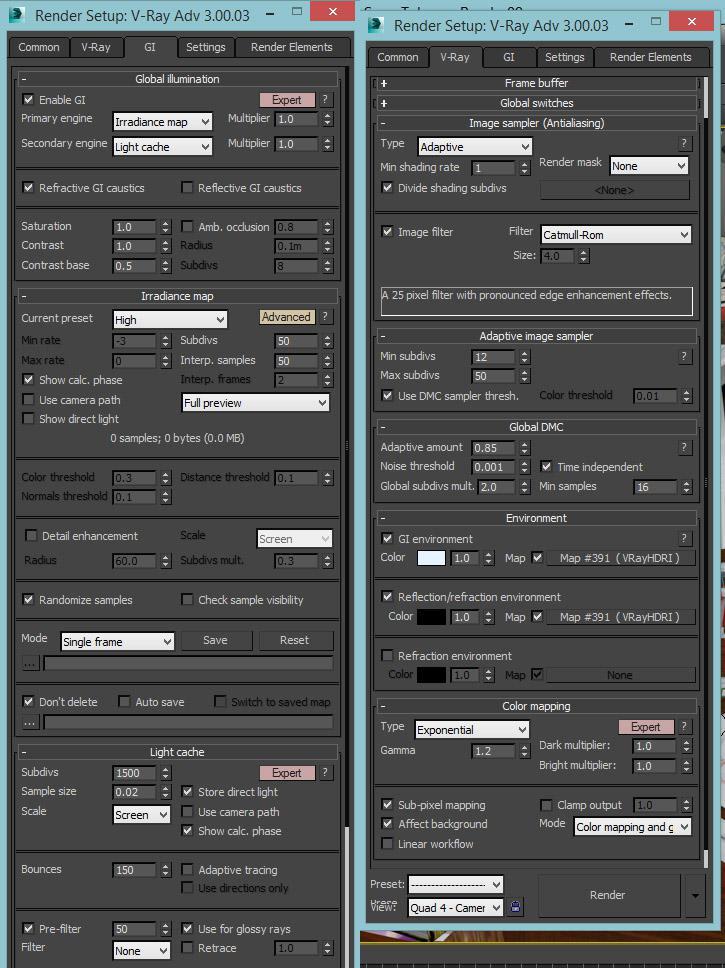 <h5>Global illumination and frame buffer settings</h5>