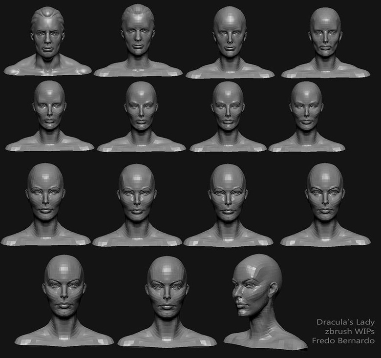 Steps of adjusting the default male head into a female