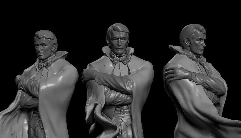 Sculpting the drapes and folds of the cape