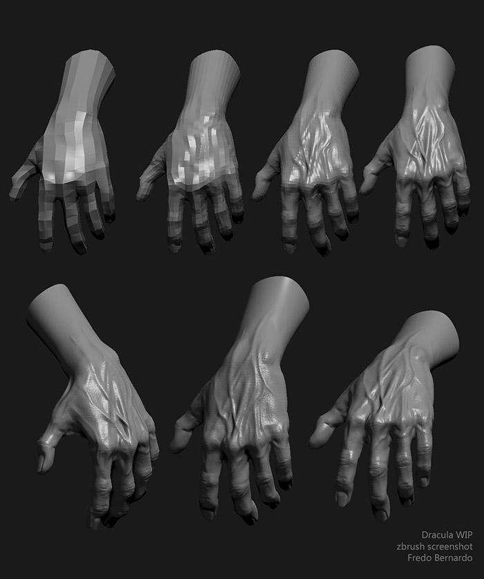 <h5>Adding details to the hands</h5>