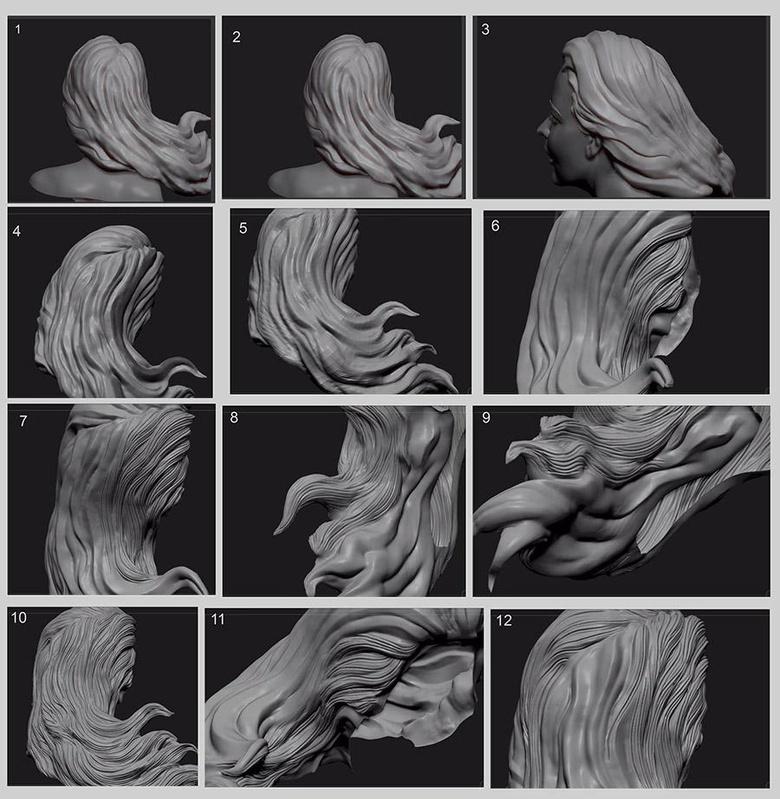Detailing the female vampire's hair