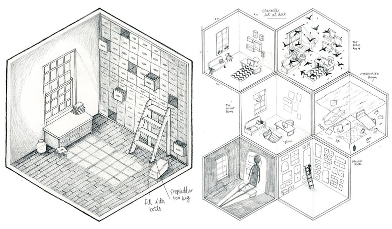 Initial sketch of the room and the grid pattern