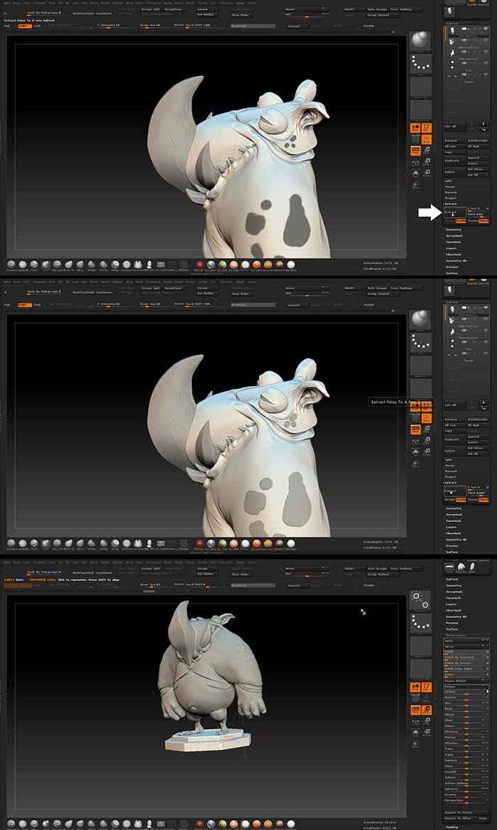 <h5>Subdividing the new clean meshes and adding more details</h5>