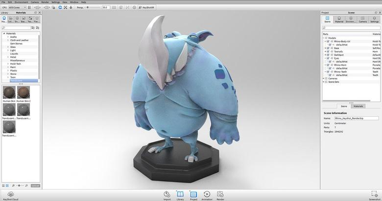 Simple object render in Keyshot in a studio environment