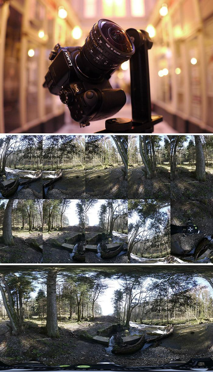 <h5>Top: Shooting material - Middle: a picture taken every 30° + zenith and nadir pictures - Bottom: Result</h5>