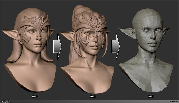 Stages of sculpting and refining the model