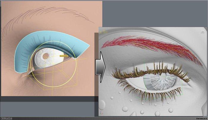Making of eyelashes and eyebrows