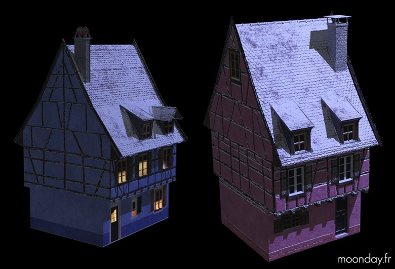 Low poly houses using GroundWiz to cover models with snow