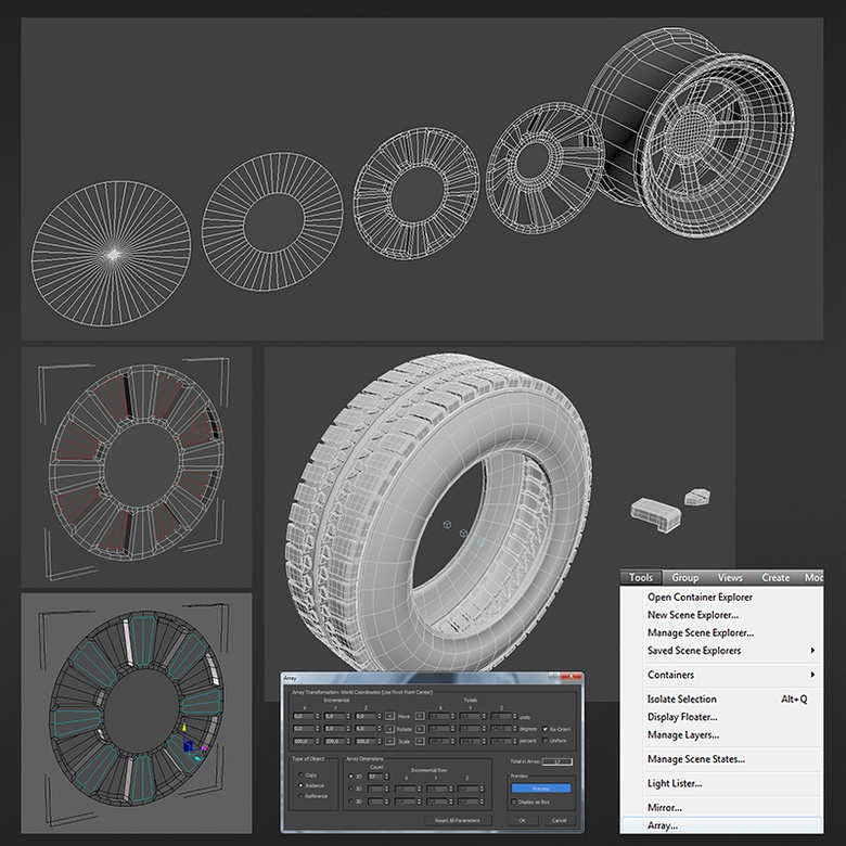 Creating the tires and rims using Array and Clone