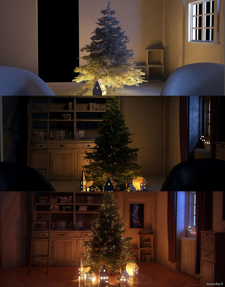 Around 12 HDR images were used for indoors lighting