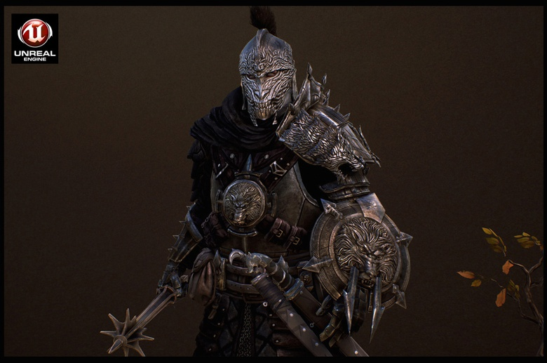 Fully armored evil character