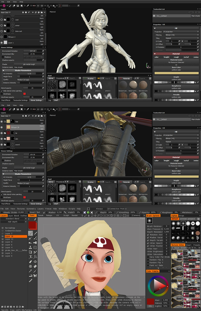 Baked maps, PBR materials and 3D-coat painting, respectively.