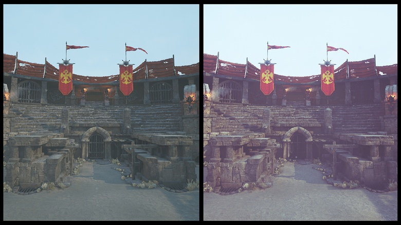Scene without (left) and with post processing (right)