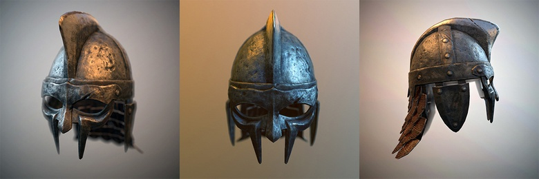 Finished helmet for one of the gladiators