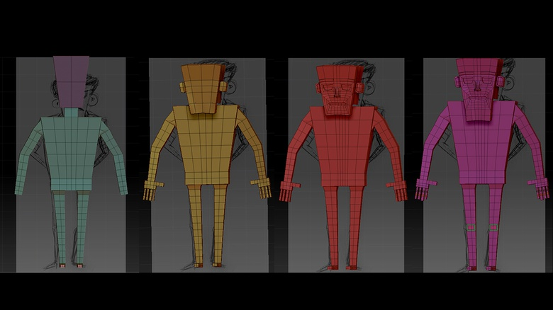 Building up the basic geometry of the character by adding new polygons and extruding new shapes